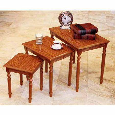 Home Craft 3-Piece Nesting Table, Multiple - Nesting Oak Folding Table