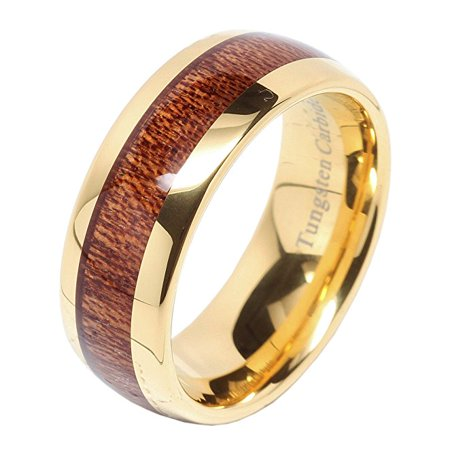 Tungsten Carbide Ring 8mm Wood Inlay 14k Gold Plated Men's Wedding Band Size 6-16 (14k Gold Inlay Rings Bands)