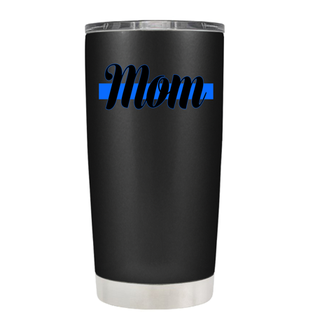 Police Mom on Black Matte 20 oz Stainless Steel Tumbler with Lid -  Police Officer Law Enforcement Gift - Gift Ideas For Police Officers
