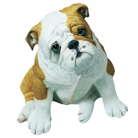 "Sandicast ""Life Size"" Sitting Fawn Bulldog Pup Dog Sculpture"