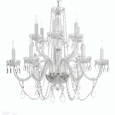 Gallery T40-409 Clear 12 Light 2 Tier Crystal Candle Style Chandelier Williamsburg Style Chandelier
