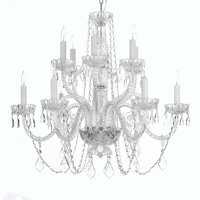 Gallery T40 409 Clear 12 Light 2 Tier Crystal Candle Style Chandelier