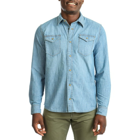 Wrangler Men's premium slim fit denim shirt (mens slim fit shirt medium)