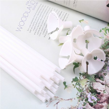 100x White Plastic Balloon Sticks and Cups for Party Supplies Wedding Decorations - Glow Sticks In Balloons For Pool