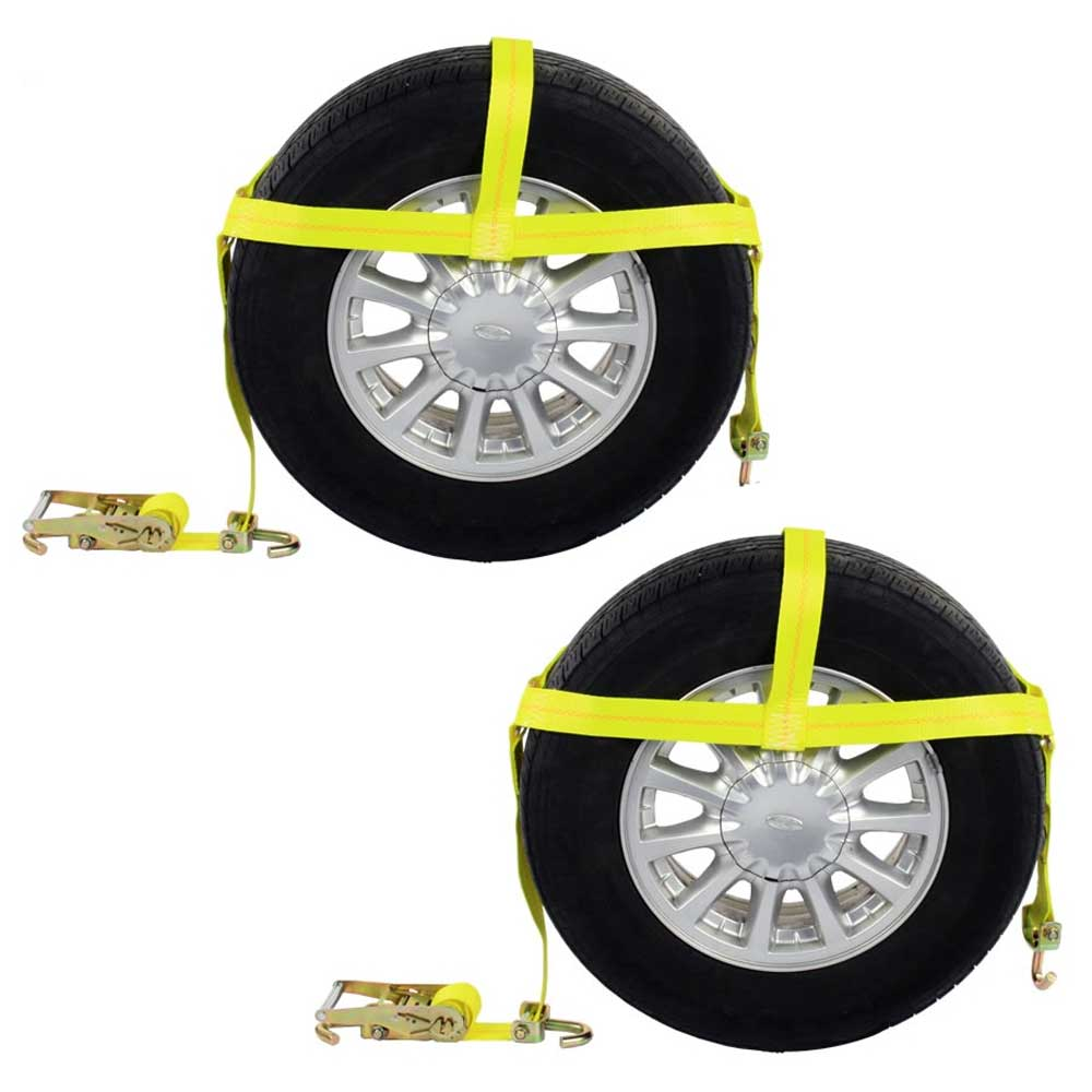 (2 Pack) - Wheel Bonnet Tie Down Strap with Swivel Hooks and Ratchet