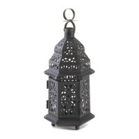 Backyard Lanterns, Moroccan Hanging Metal Decorative Floor Outdoor Lanterns, Black (Sold by Case, Pack of 16)