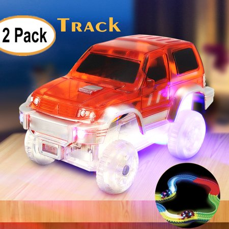 2 Pack LED Light Up Electric Special Car for Shining Race Track with Flashing Lights Kids Vehicle Toys