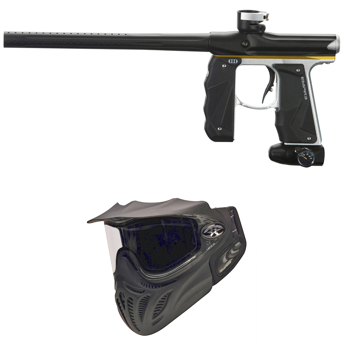 Empire Invert Mini GS Paintball Gun - Silver/Gold/Black w/ Event Mask