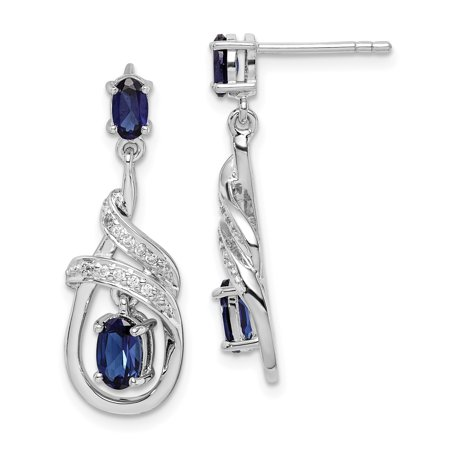 925 Sterling Silver Lab Created Sapphire Cubic Zirconia Cz Post Stud Earrings Drop Dangle 925 Sterling Silver Lab