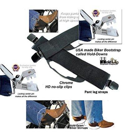 Synthetic Stirrup Straps (Hold-Ups Biker Stirrups or Boot Straps w/ Patented No-slip Jumbo Nickel Finish Metal)