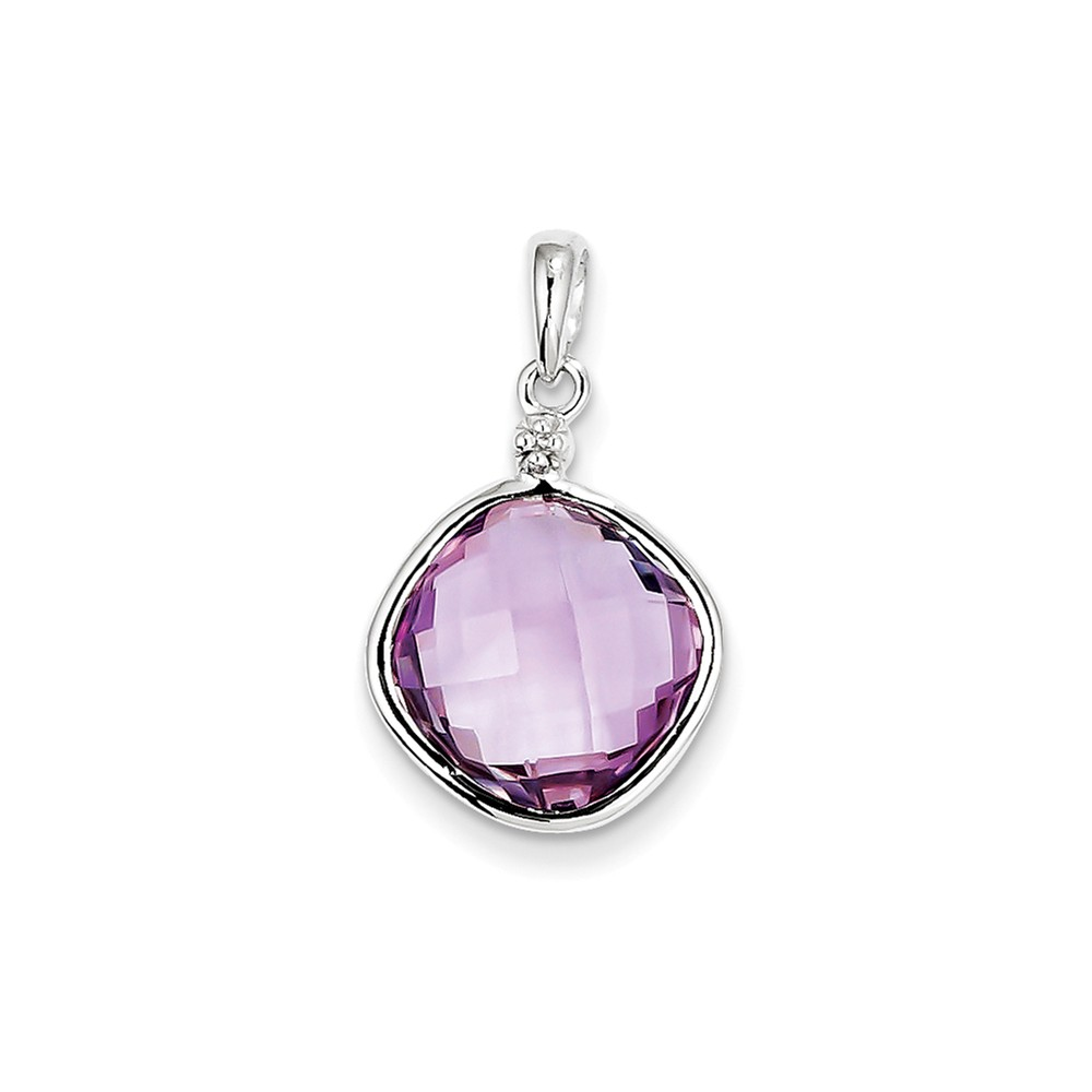 Sterling Silver Rhodium Plated Diamond Pink Amethyst Square Pendant 6.3ct