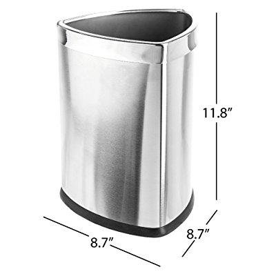 Bennett Magnificent Designed Triangle Shape Wastebasket  Small Office Open Top Stainless Steel Trash Can