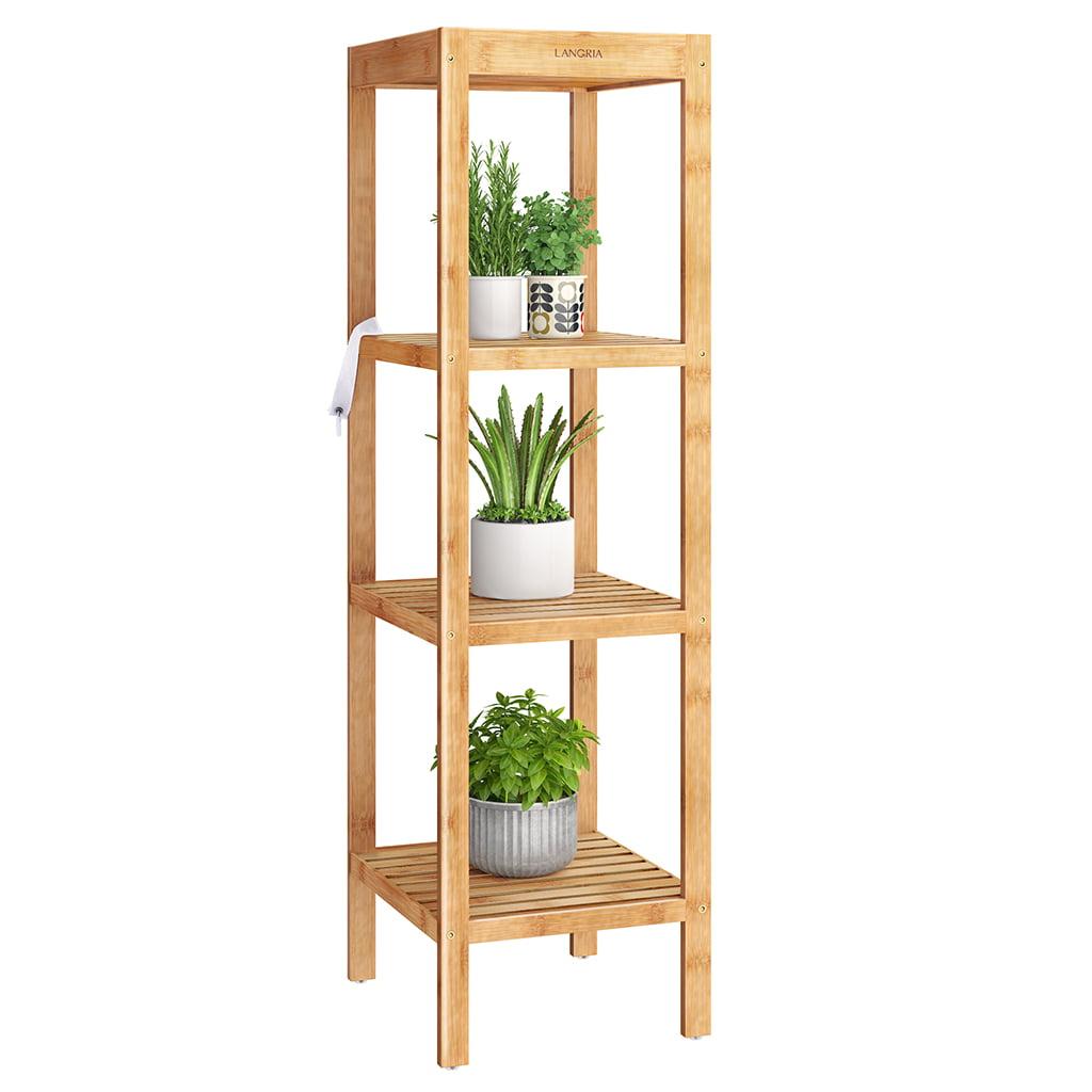 LANGRIA Bamboo 4-Tier Freestanding Shelf, Bathroom Storage ...