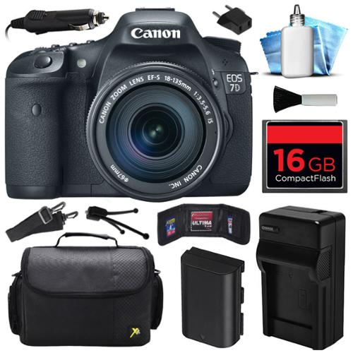 Canon EOS 7D DSLR SLR Digital Camera w/ 18-135mm IS UD Lens (16GB Value Bundle)