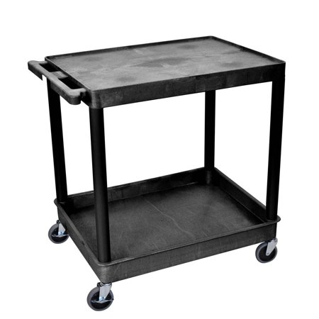 - Offex OF-TC21-B Large Flat Top and Tub Bottom Shelf Multipurpose Service Utility Cart - Black