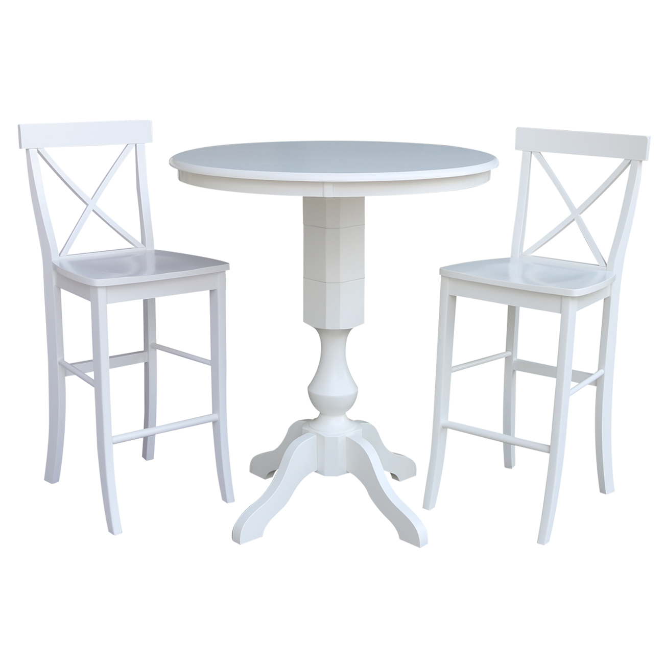 """36"""" Round Top Bar Height Table and 2 X-back Stools – White - 3 Piece Set"""