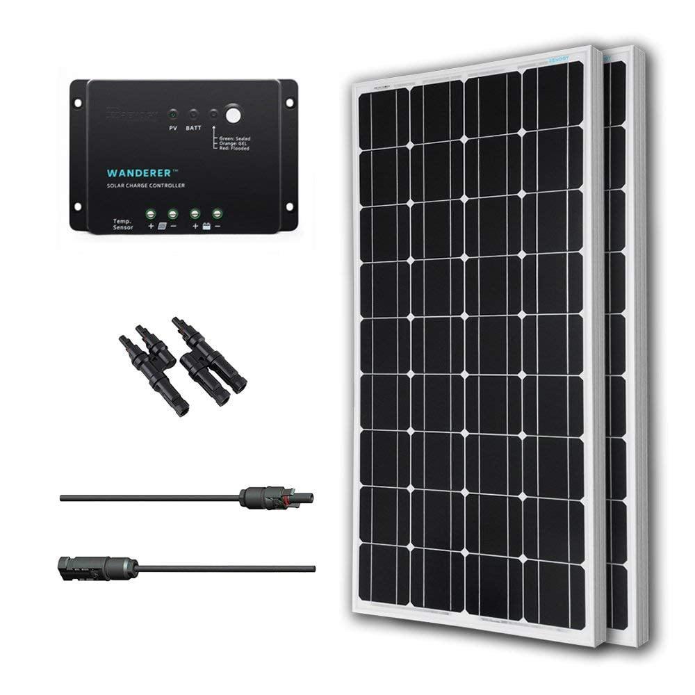 Renogy 200W 12V Solar Panel Monocrystalline Bundle Off Grid Power Kit for RV/Boat/Cabin/Battery Applications