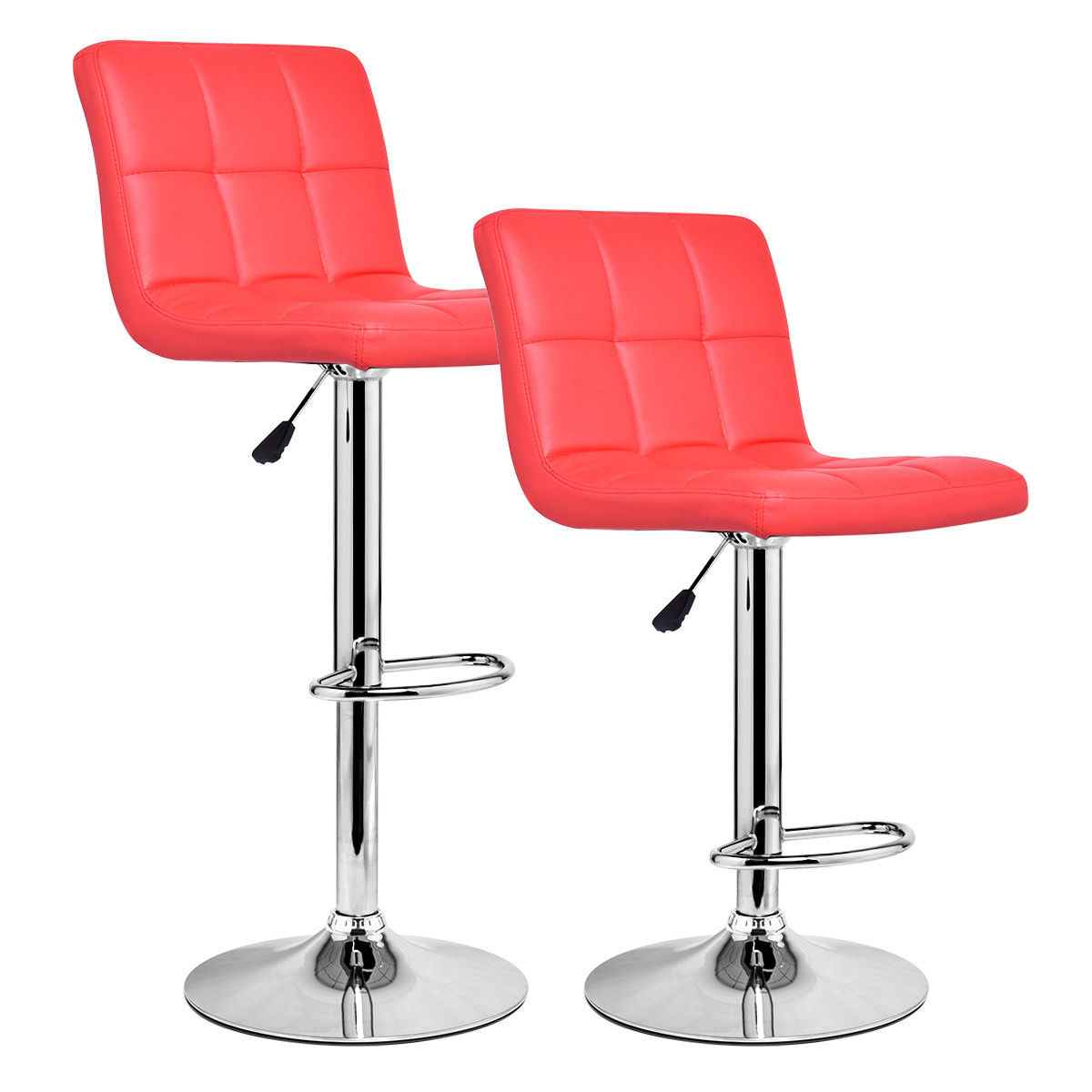 Costway Set Of 2 Bar Stools PU Leather Adjustable Bar Stool Swivel Pub Chairs Red by Costway