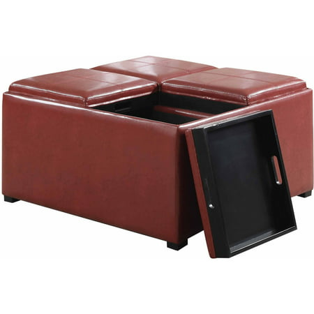 simpli home avalon faux leather coffee table storage ottoman in black. Black Bedroom Furniture Sets. Home Design Ideas