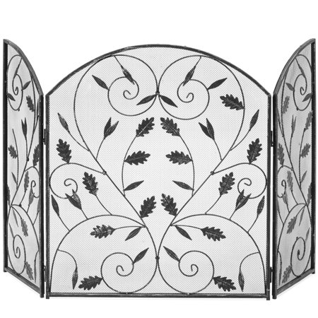 Best Choice Products 3-Panel Steel Metal Mesh Protective Fireplace Screen Decor with Rustic Worn Finish, Scroll Leaf Decals, (Medallion Metal Fireplace Screen)