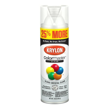 Clear Satin Spray (Krylon® ColorMaster Paint + Primer Gloss Acrylic Crystal Clear, 15-Oz)