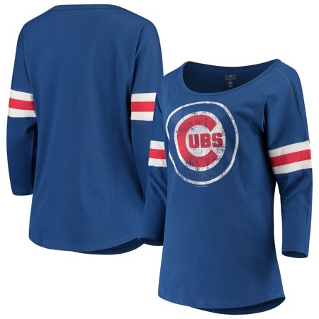1962 Chicago Cubs (Women's New Era Royal Chicago Cubs Scoop Neck 3/4-Sleeve T-Shirt )
