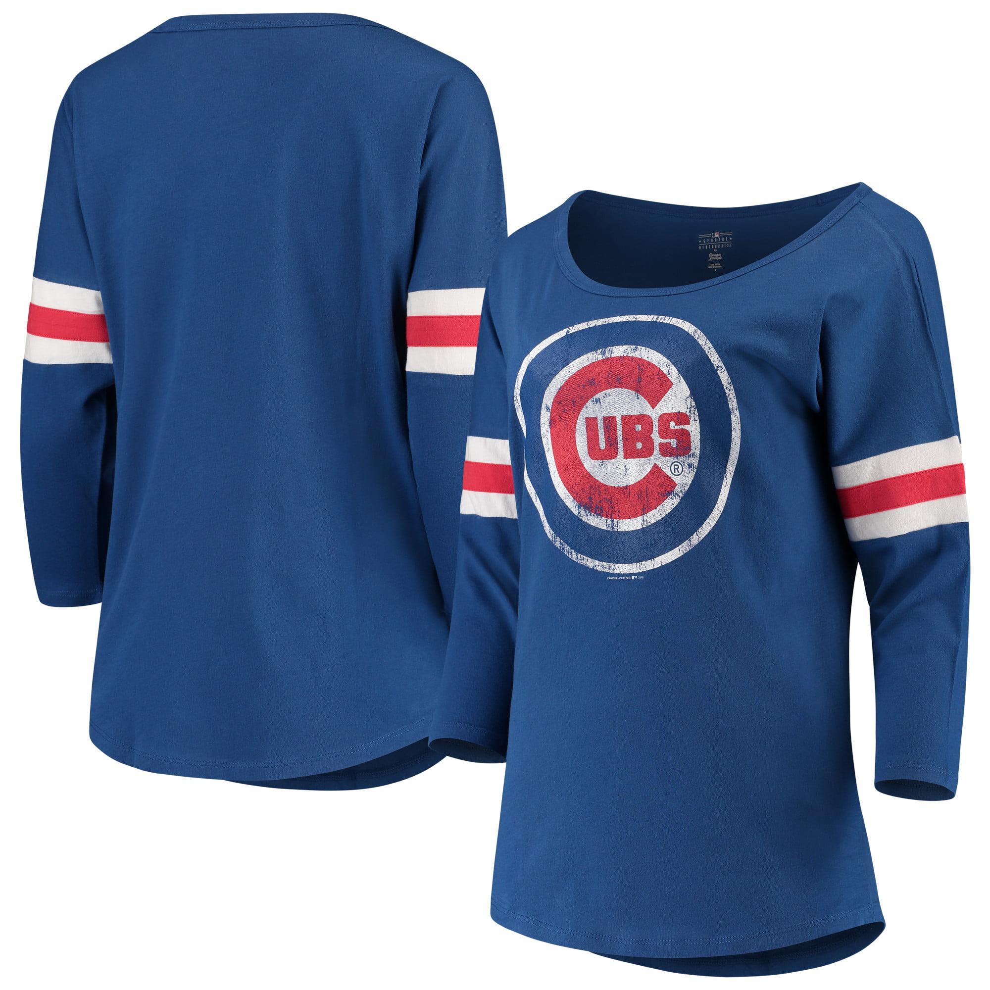 Women's New Era Royal Chicago Cubs Scoop Neck 3/4-Sleeve T-Shirt