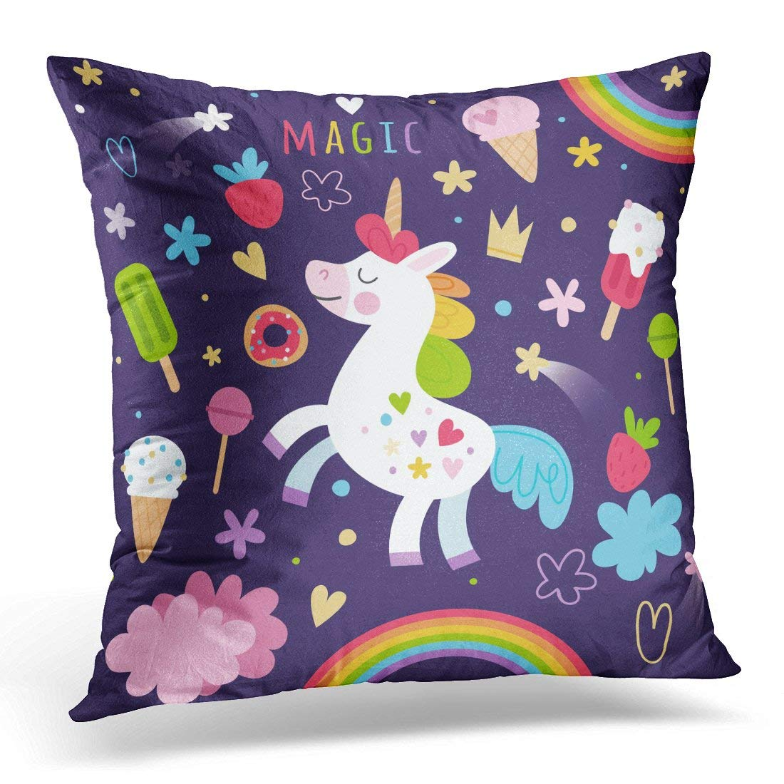 ARHOME Blue Animals Magic Unicorn on Dark Pink Believe Pillow Case Pillow Cover 18x18 inch