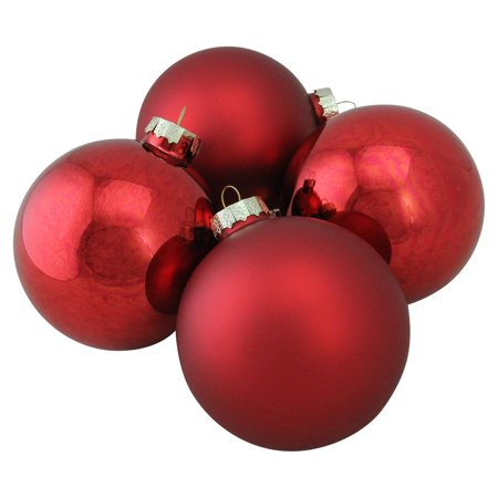 Northlight Shiny and Matte Glass Ball Christmas Ornaments - Set of 4 ()