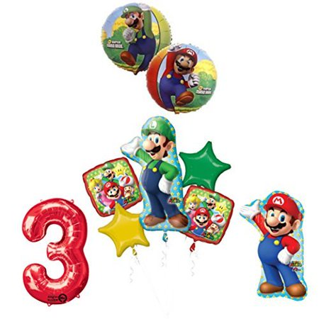 The ULTIMATE Super Mario Brothers and Luigi 3rd Birthday Party supplies (Super Mario Brothers Decorations)