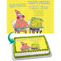 "SpongeBob SquarePants Edible Cake Image Topper Personalized Picture 1/4 Sheet (8""x10.5"")"