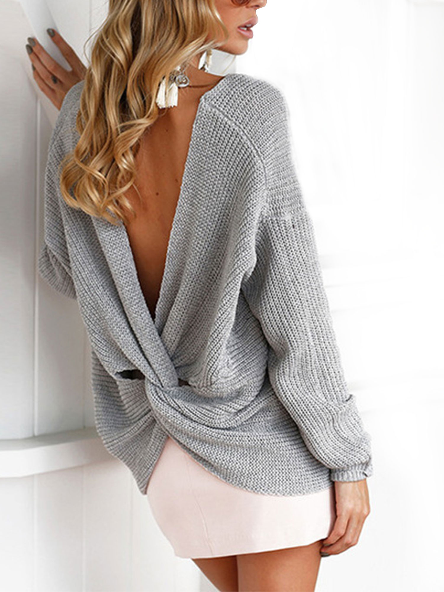 Womens V Neck Knitted Knot Twist Sweater Casual Loose Jumper Tops Knit Blouse US Women's Sweaters