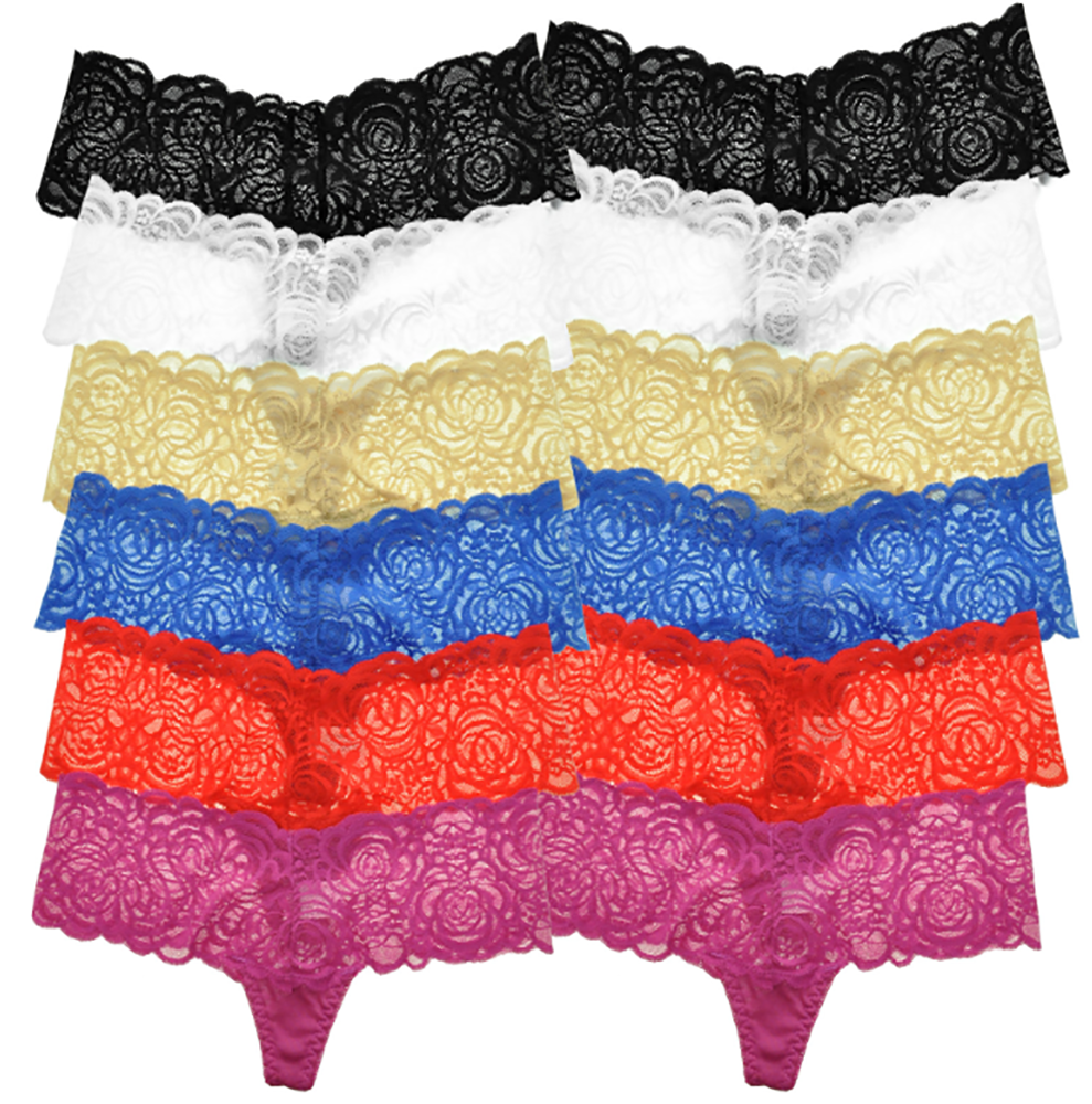 Unibasic Women Underwear Comfortable Solid Low-Rise Stretchy Lace Cotton Thong - 12 Pack