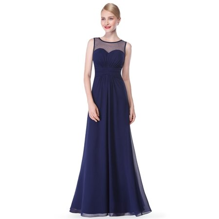 Ever-Pretty Women's Sexy Long A-Line Sleeveless Tulle Neckline Formal Evening Prom Party Bridesmaid Maxi Dresses for Women 08761 Navy Blue US 4 - Long Formal Dress
