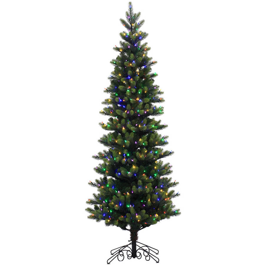 Vickerman Pre-Lit 7.5' Instant Royal Artificial Christmas Tree, LED, Multicolor Lights