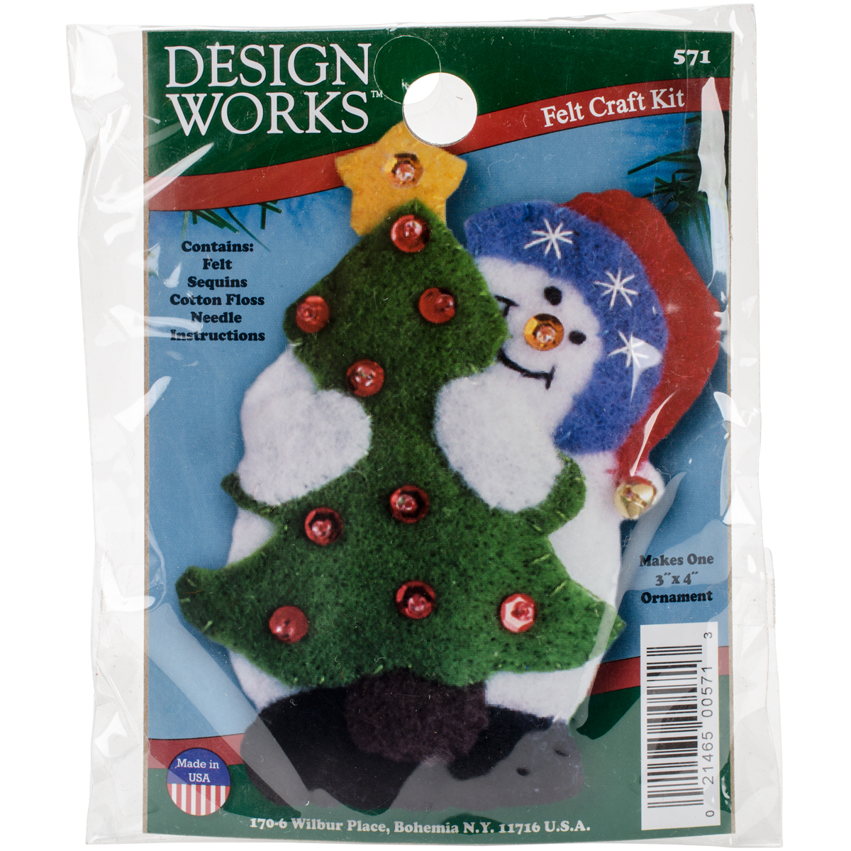 "Snowman & Tree Ornament Felt Applique Kit-3""X4"""