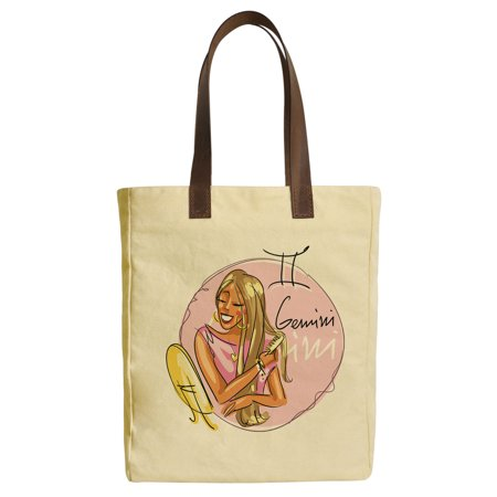 Gemini Zodiac Sign Beige Print Canvas Tote Bags Leather Handles Was 30