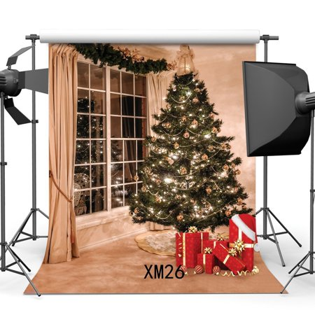 MOHome Polyster 5x7ft Photography Backdrop Christmas Tree Xmas Gifts French Sash Curtains Interior Decoration Backdrops for Baby Kids Adults Happy New Year Party Event Background Photo Studio Props
