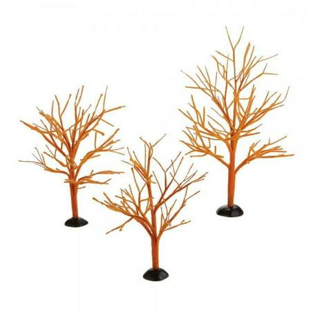 Department 56 Halloween Village Cross Product Orange Bare Branch Trees
