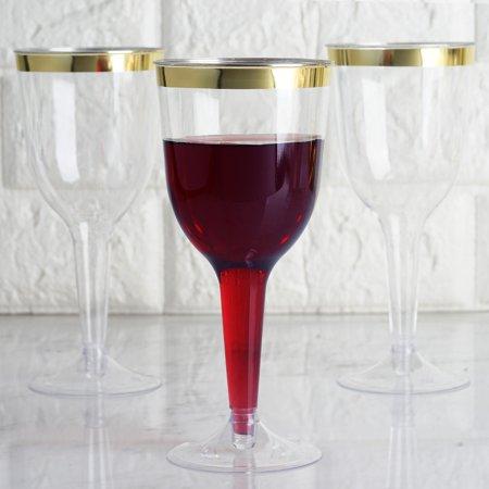 Efavormart 60 Pack 6oz Gold Rimmed Clear Champagne Flutes Cocktail Disposable Plastic Goblets Glasses For Wedding Banquet Party