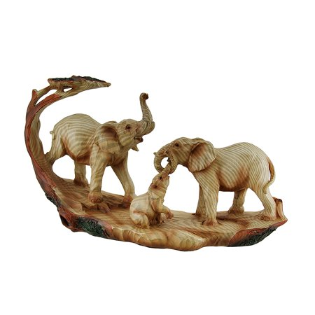 Elephant Family Safari Carved Wood Look Decorative (Carved Bullet)