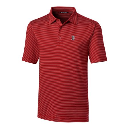 Boston Red Sox Cutter & Buck Big & Tall Forge Pencil Stripe Polo - Red - Six Pencils Game