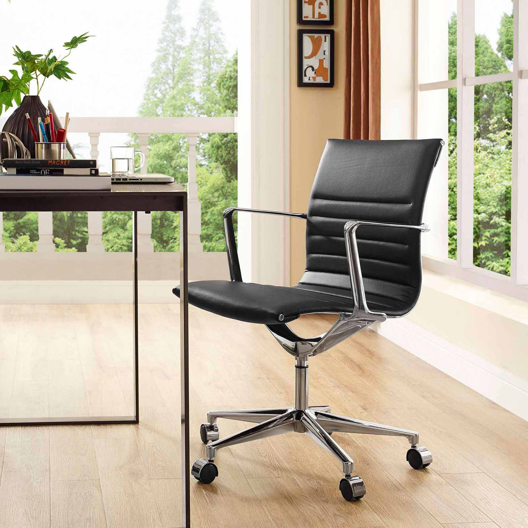 Modway Vi Mid Back Leatherette Office Chair, Multiple Colors
