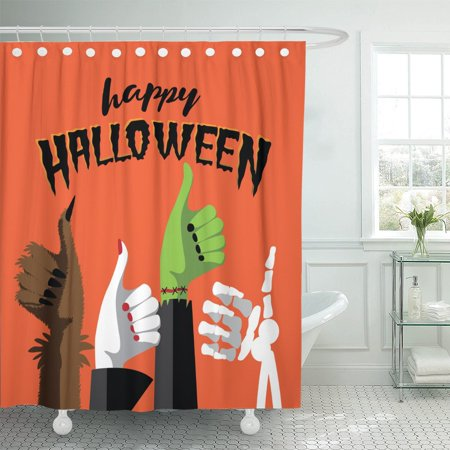 PKNMT Flat Happy Halloween Thumbs Up Werewolf Witch Zombie Shower Curtain 60x72 inches