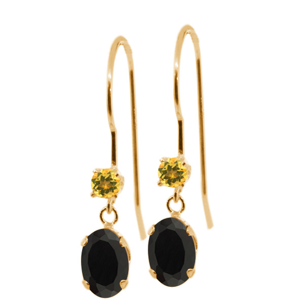 0.92 Ct Oval Black Onyx and Yellow Simulated Citrine 14K Yellow Gold Earrings