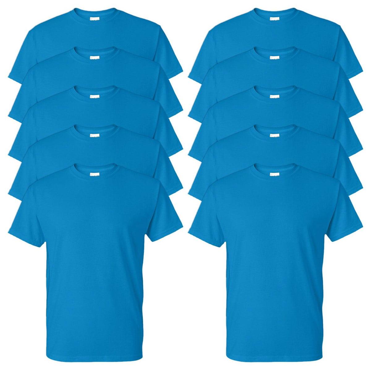 white Gildan Mens Seamless Double Needle T-Shirt Pack10 Small.