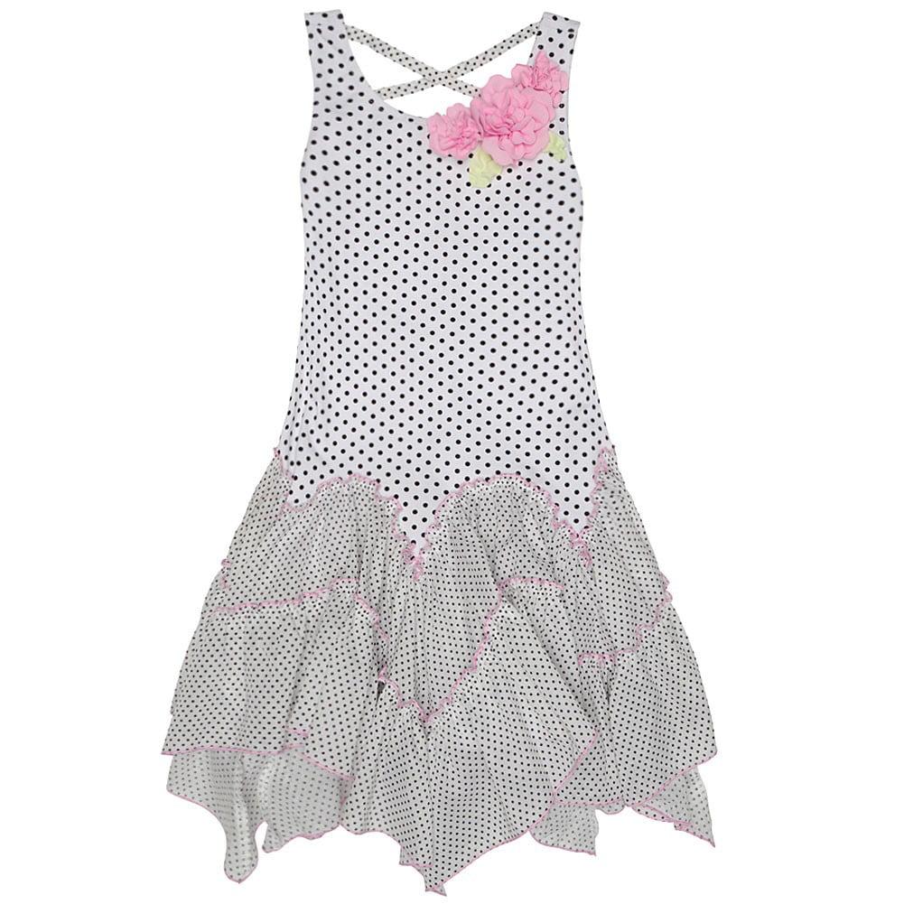 Kate Mack Little Girls Black White Polka Dot Rose Adorned...