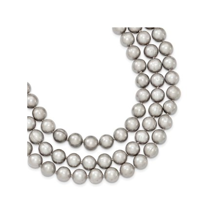 925 Sterling Silver Triple Strand Round Gray Freshwater Cultured Pearl Bead Necklace