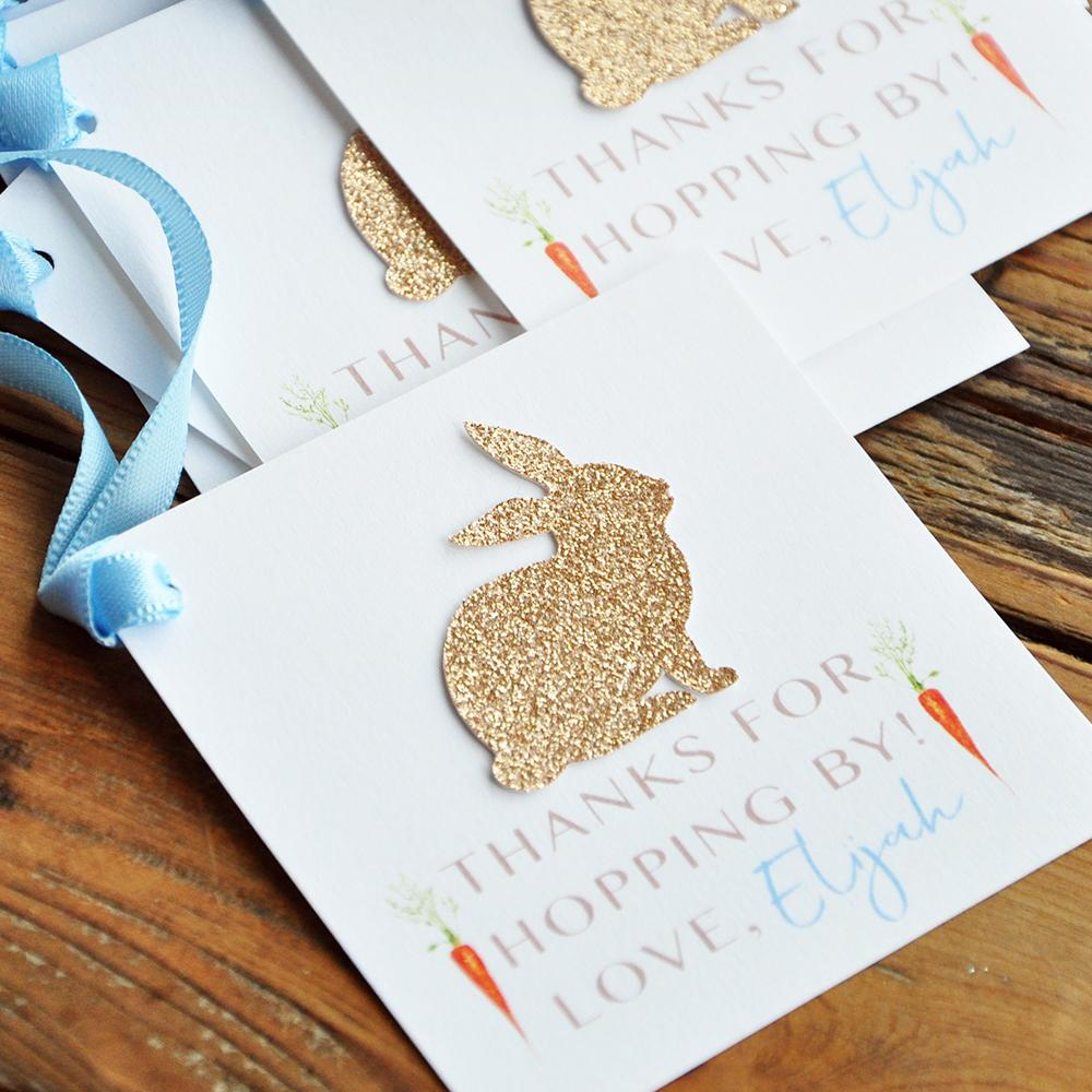 Peter Rabbit Thank You Tags for Party Favors. Thanks for Hopping By Tag. Personalized Bunny Thank You Tags. 10CT.