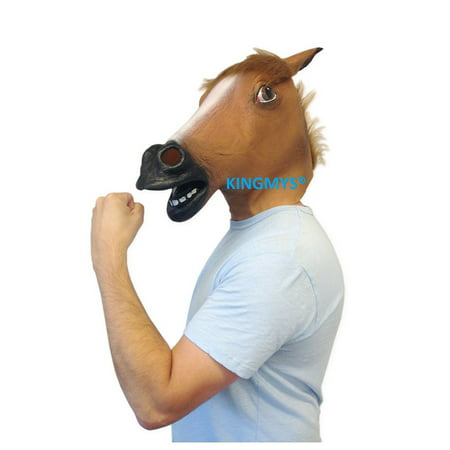 Funny Head Masks (KINGMYS@ Novelty Creepy Horse halloween mask extremely funny jokes masquerade scary masks latex Rubber Costume Theater Prop)